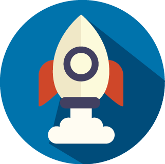 This is a brand icon for the seo company, magnetism agency. The icon is a rocket. The rocket symbolises how your product can launch an grow if you invest in seo!