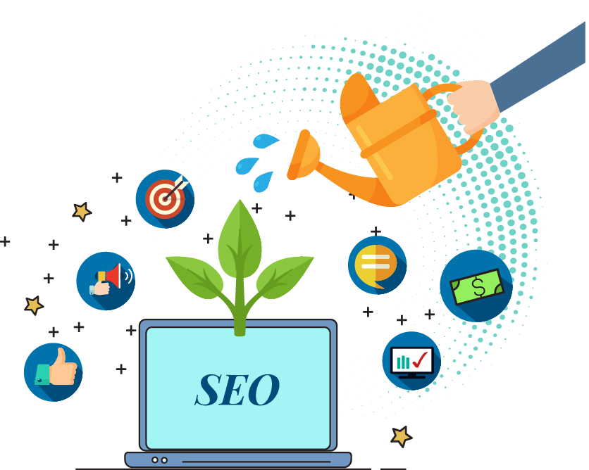 This picture shows how seo, or search engine optimisation can grow your business. It uses a variety of icons to demonstrate the growth and value it can bring to companies investing in seo.
