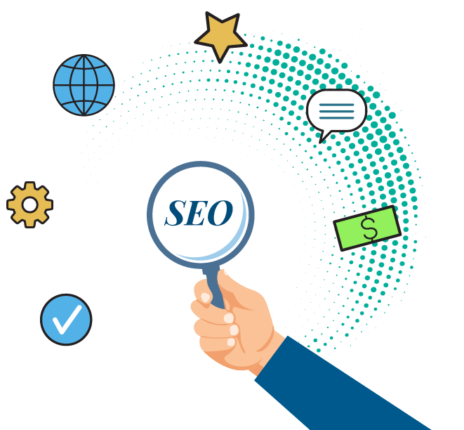 This is a photo using icons to explain what seo is all about and the value it can bring by being on the first page of Google.