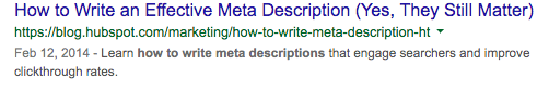 This is an example of an effective metadescription that will increase click through rates.