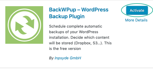 Install and activate the BackWPup plugin.