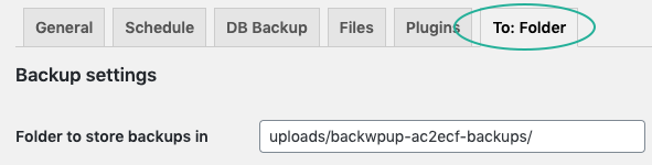 Your backup destination appears as a tab.