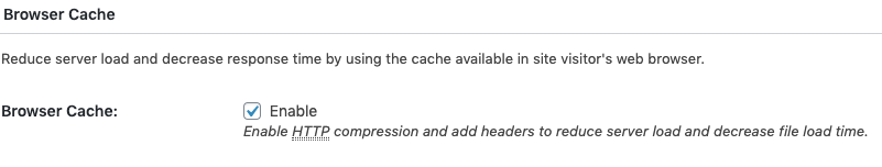 Under your general settings in your W3 Total Cache plugin, enable browser cache.